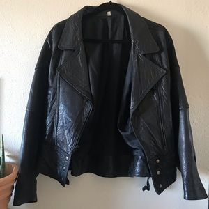 Vintage Supple black Leather Moto biker jacket